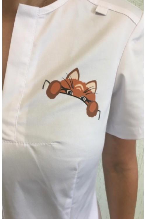 Блузон медицинский Z16-1634 кот в кармане